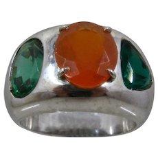 Huge 14K White Gold Fire Opal & Emeralds Ring Sz 10 1/4