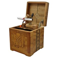 "Inlay Wood ""Radio"" Box w/ Mechanical Bird Cigarette Dispenser"