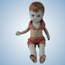 """German Bisque Boy Doll Jointed Arms Legs Original Clothes 7"""""""
