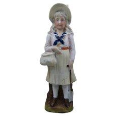 German Bisque Porcelain Figure Girl w/ Basket