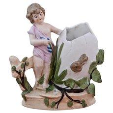 Ca 1920 Bisque Porcelain Girl Rabbit Spill Vase