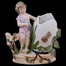 Ca 1920 Bisque Porcelain Girl Rabbit Spill Vase