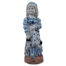 German Bisque Porcelain Figure Girl in Blue