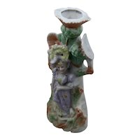 Porcelain Bisque Candle Holder Woman w/ Thistles Figure