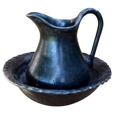Historical Taos Blackware Pitcher & Basin Southwest Indian Pottery Ca 1890