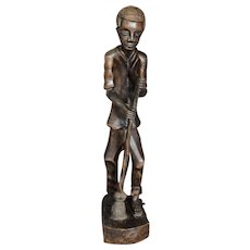 Large Antique African American Haitian Black Man Wood Sculpture Signed