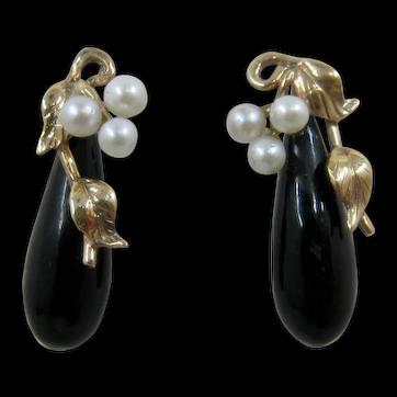 14K YG Black Coral & Pearls Drop Earrings