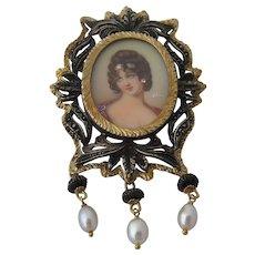 Vintage 18K Sterling Portrait Miniature Pin Pendant