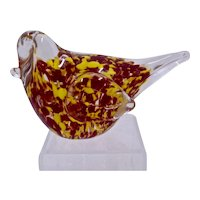 Vintage Blown Glass Song Bird Clear Yellow & Red Paperweight