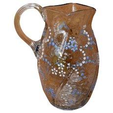 Blown Glass Pitcher Jug w/ Enamel Jewel Flowers Gilt