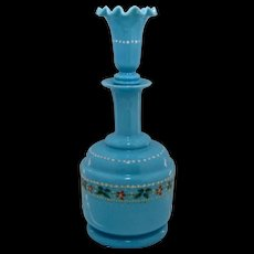 Late 1800s Bristol Blue Enameled Decanter Perfume Cologne Bottle w/ Fluted Stopper