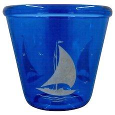 Hazel Atlas Cobalt Blue Glass Ice Bucket Sailboats 1930s