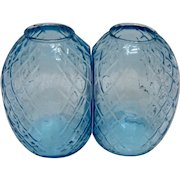 Pair Quilted Blue Glass Bookend Vases Early 1900s