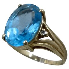 14K Blue Topaz Cocktail Ring 7.5 Cts Diamond Accents Sz 9.5