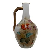 "Early 1900s Austrian Porcelain Ewer Hand Painted Gilt Poppies 11.5"" H"