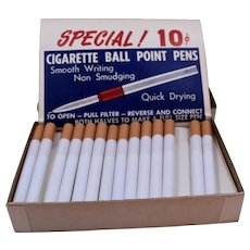 Display Box Cigarette Ball Point Pens 1960s