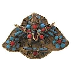 Tibetan Brass Buddha Pin Turquoise Coral Glass