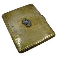 Ca 1930s Hand Made Brass Cigarette Case Silver Trim