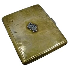 Ca 1930s Hand Made Brass Cigarette Case Silver Trim
