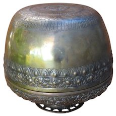 Ottoman Islamic Brass Chased Repousse Covered Bowl Comport