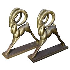 Pair Mid Century Brass Ram or Ibex Bookends
