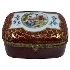 Early 1900s Rectangular Porcelain Dresser Box Hand Painted Greek Scene