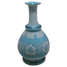 Late 1800s Bristol Coralene Glass Vase Aqua Grapes & Leaves