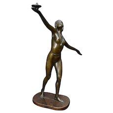 "Art Deco Bronze Sculpture Nude Egyptian Revival Woman 13"""