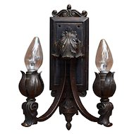 Cast Bronze Double Electric Light Sconce Fixture Ca 1910s Neoclassical