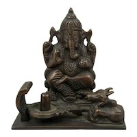 Vintage Bronze or Brass Ganesh Hindu God Incense Burner
