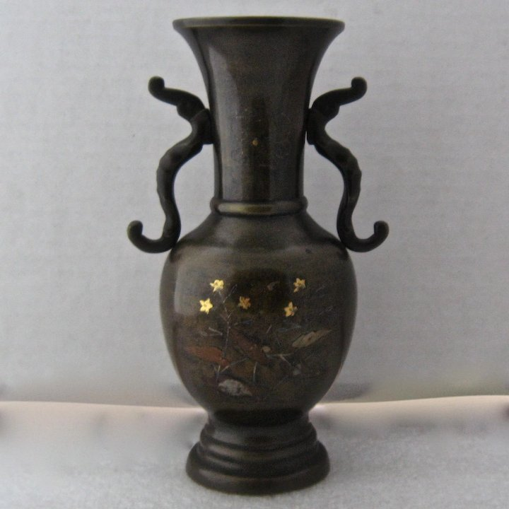 Meiji Period Japanese Bronze Vase W Mixed Metals Inlay Mendocino