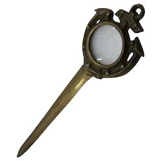 Big Bronze Nautical Letter Opener Magnifier Anchor Ca 1940
