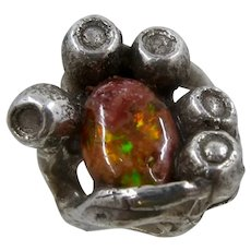 Brutalist Cast Sterling Mexican Fire Opal Ring Sz 7 1/2