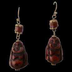 """Vintage African """"Amber"""" Buddha Figural Earrings Gold Fill"""