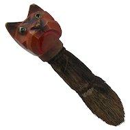 Early 1900s Brush w/ Carved Wood English Bulldog Handle