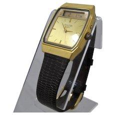 1980s Bulova Analog Digital Alarm Chronograph Quartz Watch