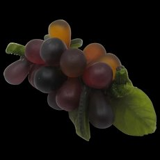 Early 1900s Bunch of Glass Grapes & Leaves Centerpiece