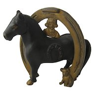 Buster Brown Good Luck Horse Shoe Cast Iron Bank