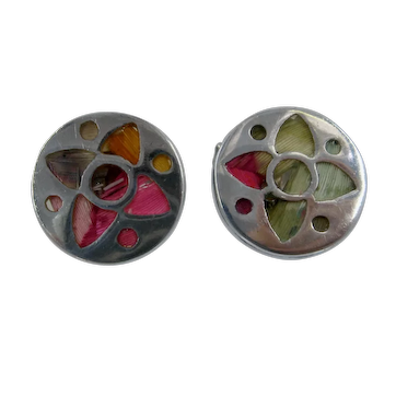 Vintage Sterling Butterfly Wing Inlay Cufflinks
