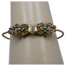 Victorian Gold Filled By-Pass Shield Flowers Bracelet