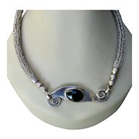 """Heavy Hand Wrought Sterling Byzantine Chain Onyx Necklace 26"""""""