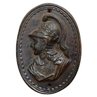 Old Cast Iron Wall Plaque Roman Soldier Bust Relief