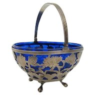 Ca 1900 Sterling Sugar Basket w/ Cobalt Liner Merrill for Caldwell