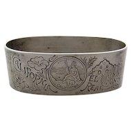 California Napkin Ring Silver Plate El Camino Real Early 1900s