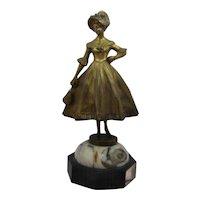 Ca 1900 Art Nouveau Statue Young Girl  by Campbell Gilded Bronze