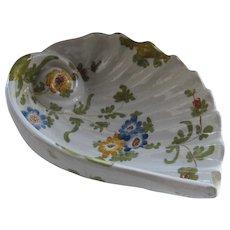 Ca 1900 Cantagalli Italy HP Faience Pottery Nautilus Shell Dish