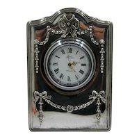 R Carr Sheffield Sterling Desk Clock in Box Quartz 2000