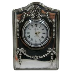 R Carr Sheffield Sterling Desk Clock in Box Quartz 2000