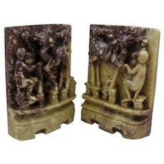 Chinese Carved Soapstone Bookends Monkey Antelope Raven