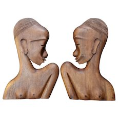 Carved Mahogany Women Bookends African Art MId 1900s